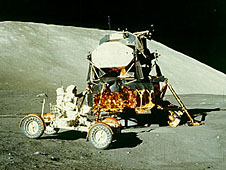 The Lunar Module and a lunar rover on the moon