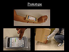 A collage of three images of a mobile device being used for work