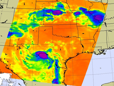 AIRS image of Dolly fading over Texas/Mexico border