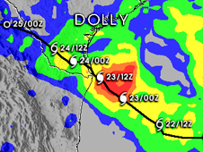 Chart showing TRIMM-measured rainfall totals for Dolly