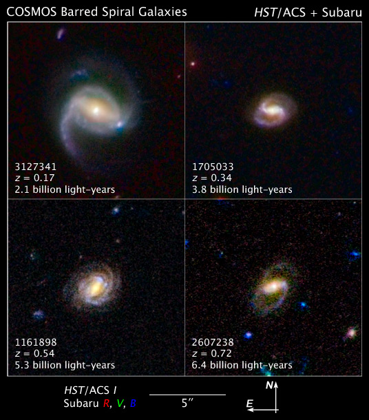 Barred Spiral Galaxies Are Latecomers to the Universe
