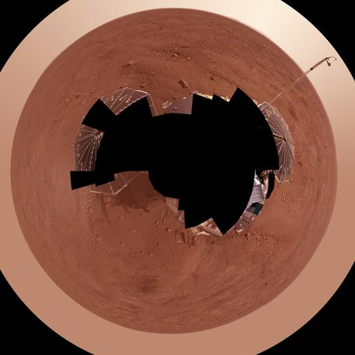 Full-Circle Color Panorama of Phoenix Landing Site on Northern Mars, Polar Projection