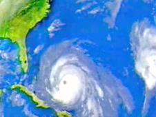 Computer image of a hurricane approaching Florida