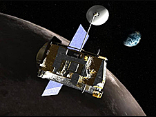 A drawing of the LRO spacecraft in orbit