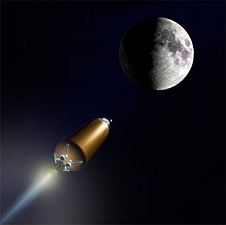 A drawing of LCROSS on its way to the moon