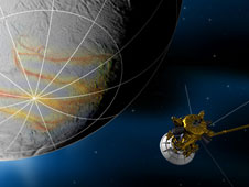 artist concept of Cassini flyby of Enceladus