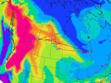 Image from computer model showing a carbon monoxide plume