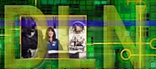 The letters DLN overlay images of an astronaut and an EVA suit