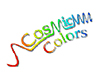 The words Cosmic Colors spelled out in rainbow letters