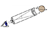 Drawing of a refracting telescope