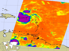 AIRS image of tropical disturbance over Puerto Rico