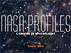 The words NASA Profiles set on a starry space background