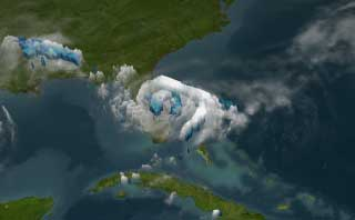 Still from animation about Tropical Storm Fay