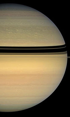 A partial view of Saturn and its rings