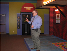 NASA educator John Weis conducts hands-on activities at the Iowa children's Museum.