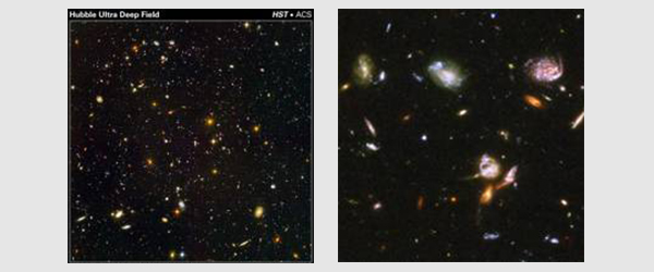 Left image - Hubble Ultra Deep Field taken by ACS. Right image - Detail of a portion of the Hubble Ultra Deep Field