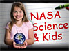 A girl holding a globe stands in front of the words NASA Science and Kids