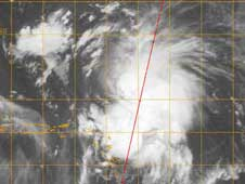Cloudsat image of Hanna on August 30, 2008