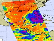 Infrared image of Hurricane Gustav