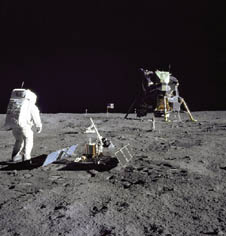 Astronaut Buzz Aldrin surveys Apollo 11 landing site