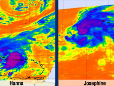 Tropical Storm Hanna, left, and Josephine