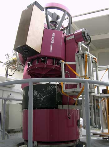 The TORTORA camera is mounted atop the 0.6 m REM telescope at the European Southern Observatory