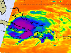 AIRS image shows temperatures surrounding Hurricane Ike