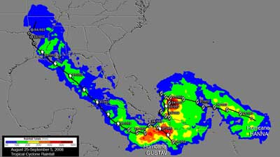 Rain accumulation of Gustav and Hanna from Aug. 25 through Sept. 5, 2008