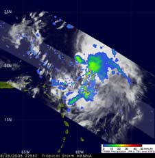 TRMM image of Hanna on Aug. 28, 2008
