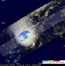 TRMM image of Josephine on Sept. 5, 2008