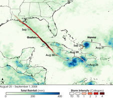 Gustav's track of heavy rain