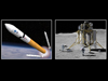Image depicting concepts of Ares V Cargo Launch Vehicle and Altair Lunar Lander.
