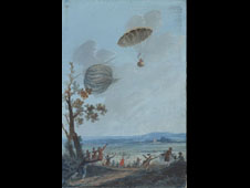 Andrew Garnerin first recorded parachute jump painted by Etienne Chevalier de Lorimier