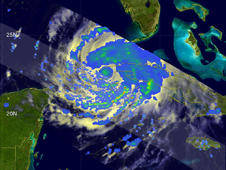 TRMM image of Ike in Cuba and the lower Florida Keys