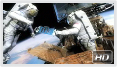 Artist concept of astronauts working on the Hubble