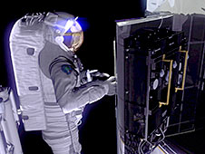 Illustrated image of an astronaut removing one of the batteries.