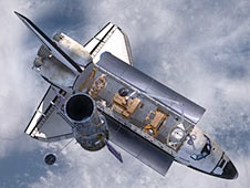 image from an animation of the Hubble being released from the shuttle
