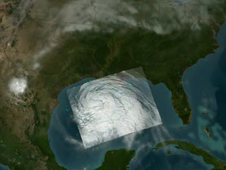 Still of Hurricane Ike animation