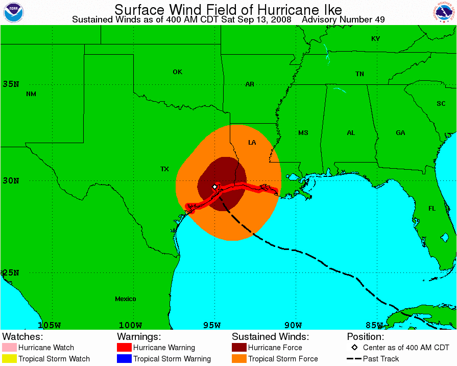 powerful ike slams texas at 2 a m cdt on verge of category 3
