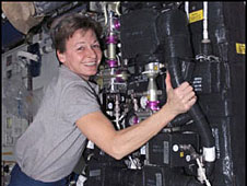 Peggy Whitson floating on the International Space Station