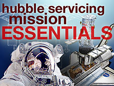image of an astronaut on the left and the Hubble docked in the shuttle on the right with the words Hubble servicing mission essentials