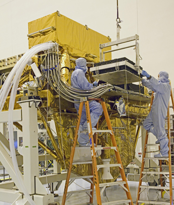 Goddard engineers install Hubble's new batteries onto the SLIC.