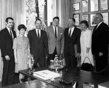 Honors for X-15 work - X-15 research engineering technician Betty Love (on right) joined her husband, X-15 project manager Jim Love and test pilot Bill Dana for a ceremony honoring the program's success in California Gov. Ronald Reagan's office 1969. From left, state assemblyman Kent Stacey, Judi Dana, Bill Dana, Gov. Ronald Reagan, Jim Love, Betty Love and state senator Walter Stiern.