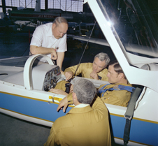 Lifesaver - Wen Painter, here with colleague Tom McMurty and Ames guest pilots next to AD-1 research aircraft.