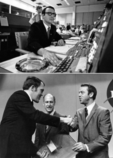Cool heads - Heroes of the Apollo 11 landing-Steve Bales at mission control TOP and Jack Garman BOTTOM receiving an award from Alan Shepard with George Low looking on.