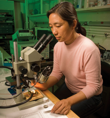 Nanosensor developer - Jing Li in an Ames Research Center laboratory.