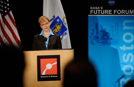NASA Deputy Administrator Shana Dale delivers the keynote address during the NASA Future Forum event at the Museum of Science in Boston, MA, Thursday, September 18, 2008. Photo Credit-NASA Bill Ingalls