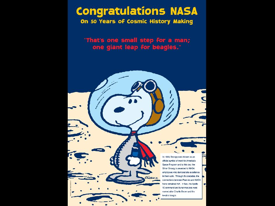 Snoopy NASA Anniversary poster. Credit United Media
