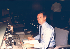 At the helm - Glynn Lunney, head of the Flight Directors Office, during an Apollo 14 preflight activity in 1971.