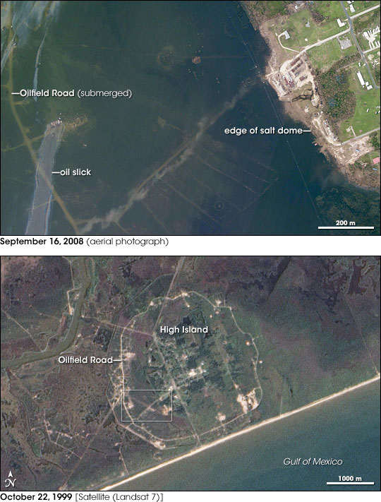 Image of High Island from September 16, 2008, after the destruction caused by Hurricane Ike